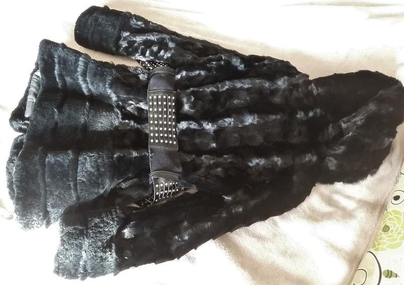 Норковая шуба с капюшоном, черная, шубка в идеале, приталенная - Фото 5