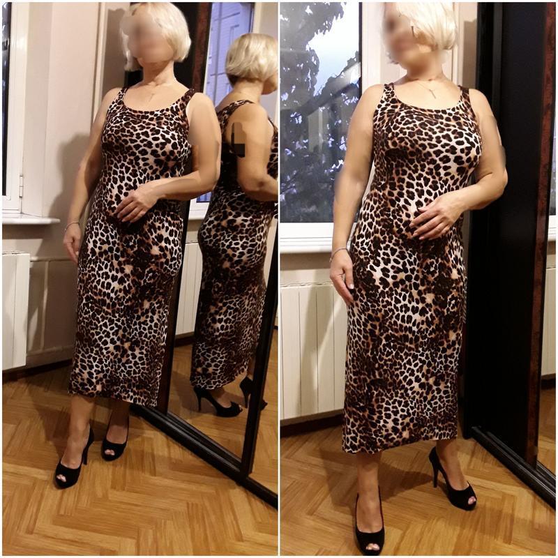 Трикотажное платье майка в принт