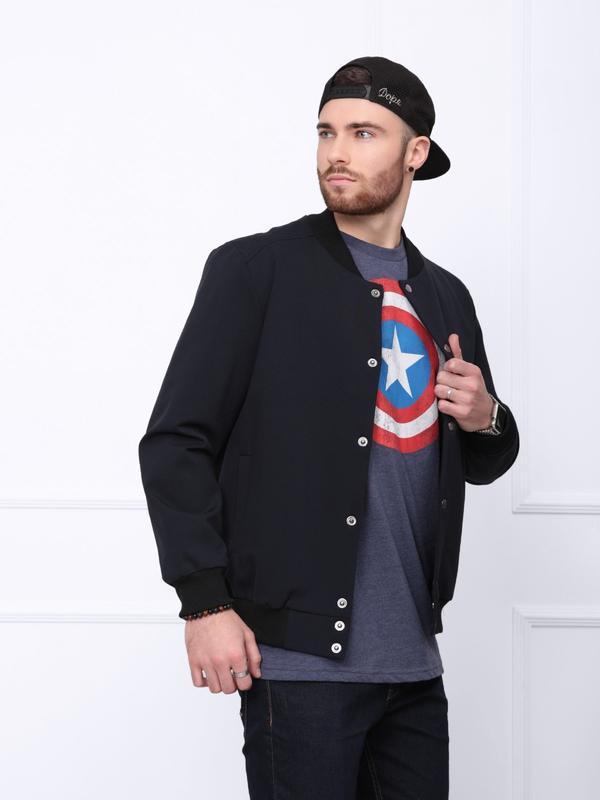 Темно-синяя трикотажная легкая куртка-бомбер