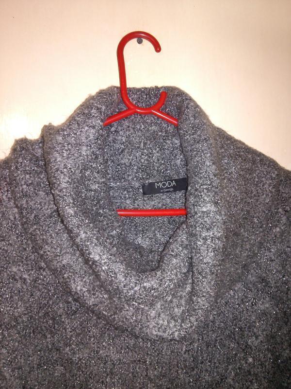 Чудесный,мягкий,буклирован.,серый с люрексом,свитер-туника с х... - Фото 4