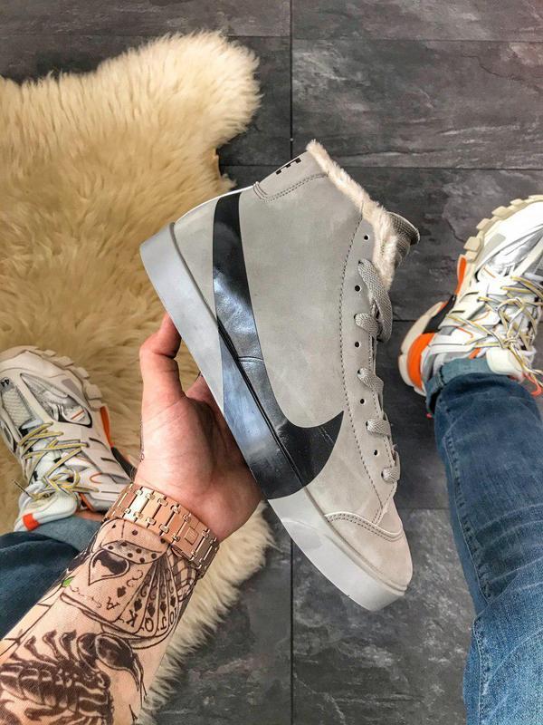 Шикарные мужские зимние кроссовки/ ботинки nike blazer mid gre... - Фото 2