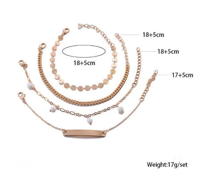 Набор браслетов 4 штуки золотистого цвета - Фото 5