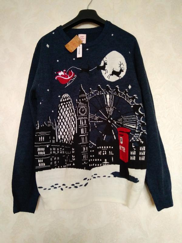 Крутой  новогодний джемпер свитер меланж новый бренда george  ...
