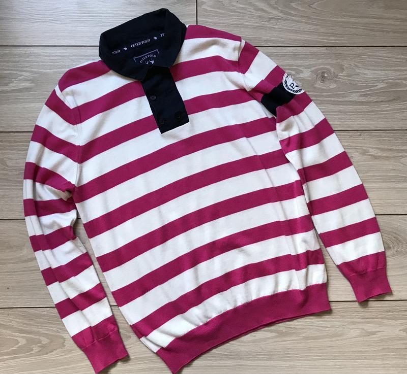 Мужской свитер поло в полоску хлопок размер l