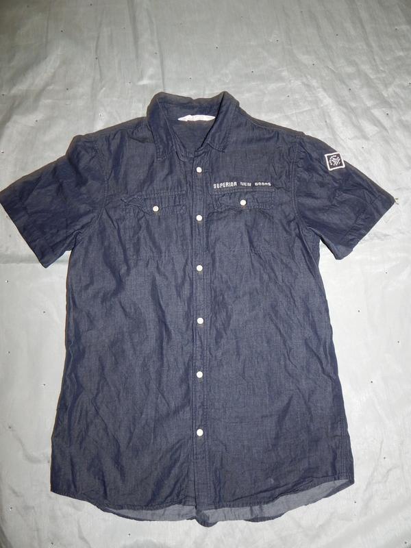 Рубашка джинсовая на мальчика 14 лет 170 см