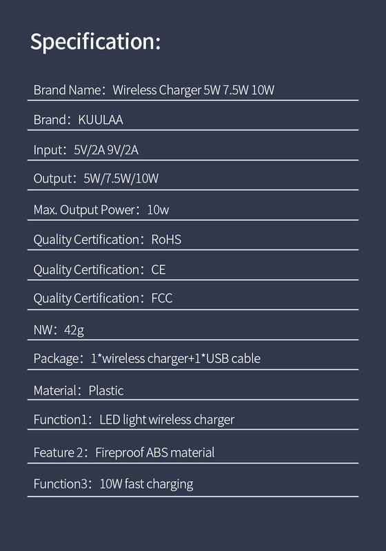 Бездротова зарядка Kuulaa QI Fast Charger 10W - Фото 7