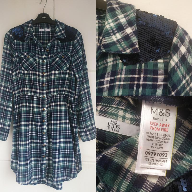 Платье-рубашка для девочки 11-12лет marks& spencer в клетку с ...