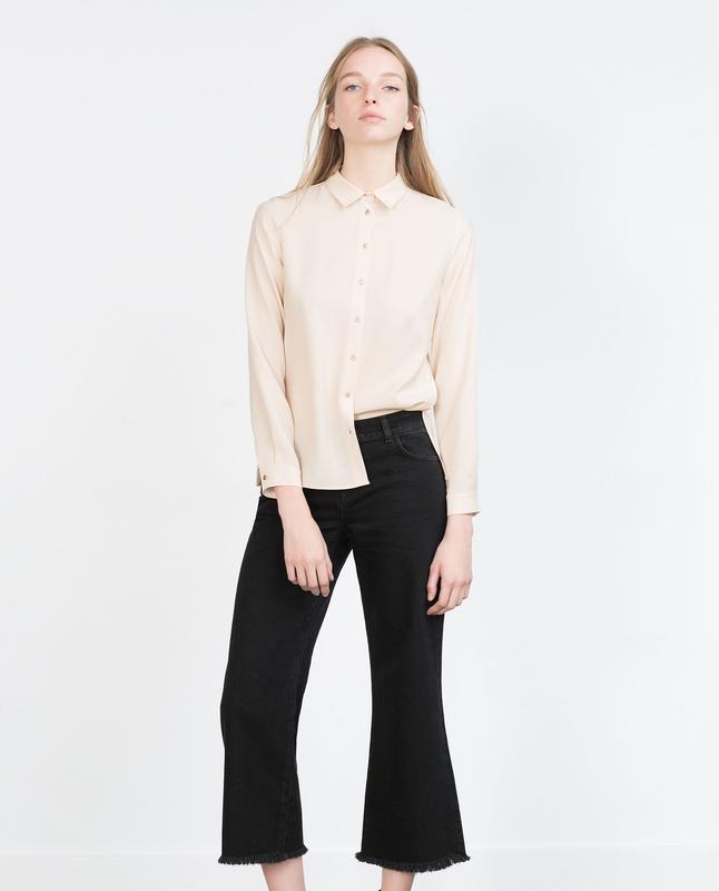 Рубашка zara с длинными рукавами - Фото 3