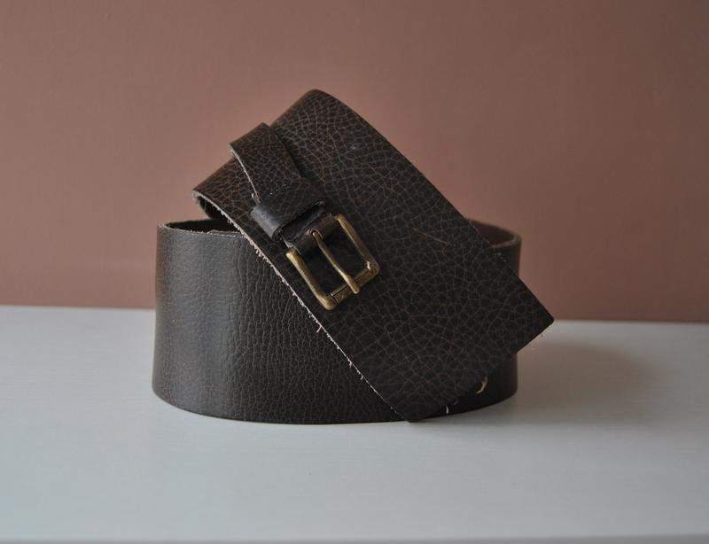 Кожаный широкий пояс ремень для шубы,пальто /шкіряний пояс