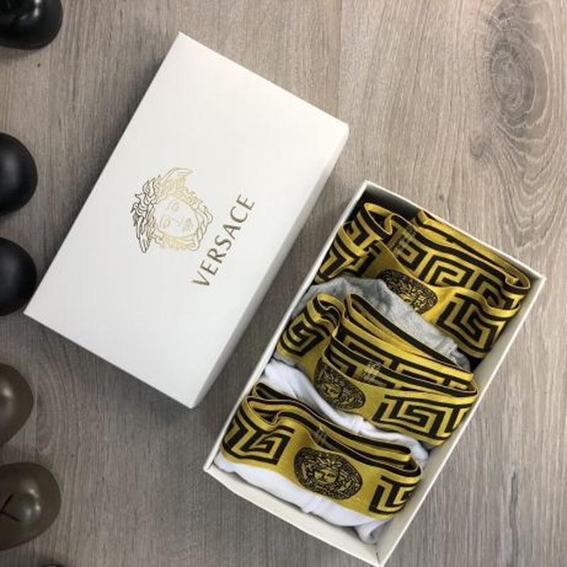 Мужское Нижнее Белье Versace Pack 3 Gold White/Black/Gray Набо...