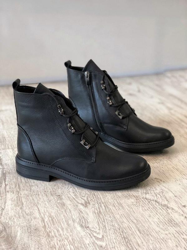 Зимние кожаные ботинки на низком ходу