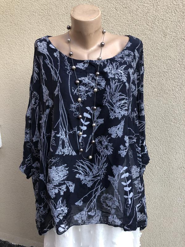 Блуза-пончо,рубаха шелковая,разлетайка,elena baldi,большой раз... - Фото 5
