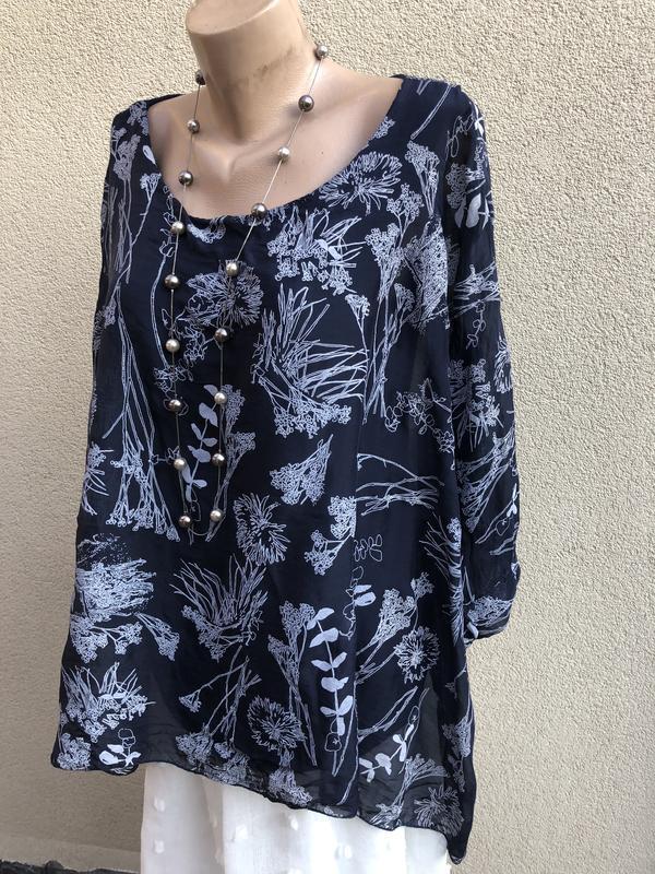 Блуза-пончо,рубаха шелковая,разлетайка,elena baldi,большой раз... - Фото 7