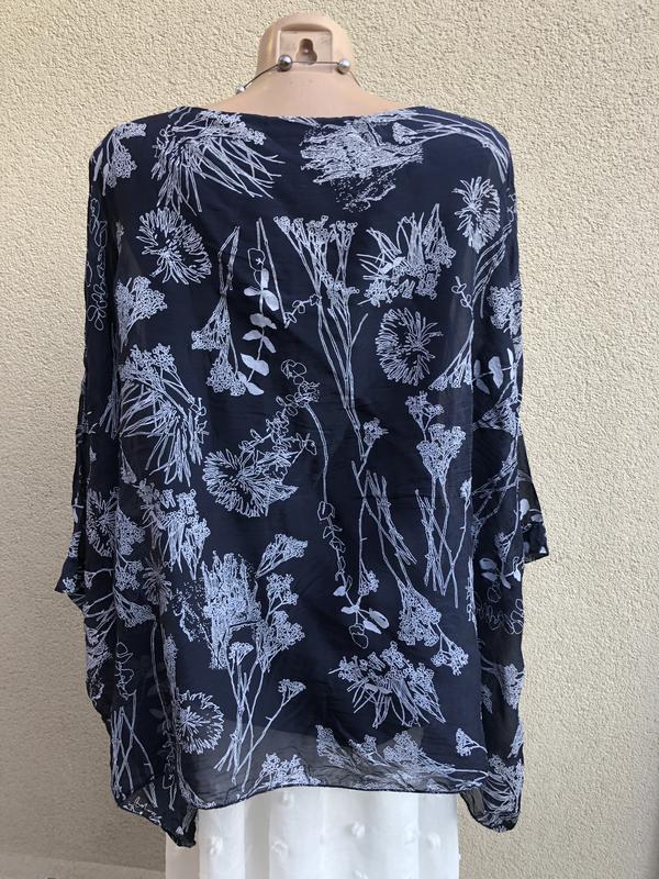 Блуза-пончо,рубаха шелковая,разлетайка,elena baldi,большой раз... - Фото 9