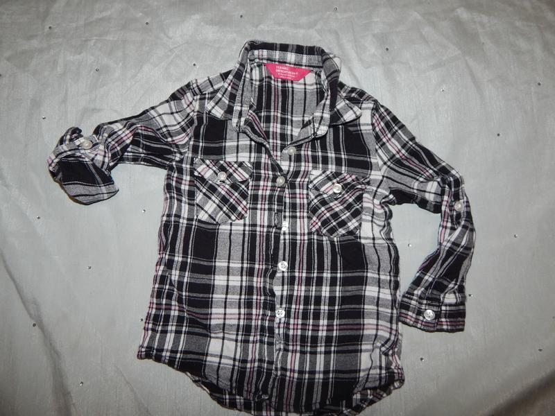 Рубашка модная на девочку в клетку 3-4 года 104см