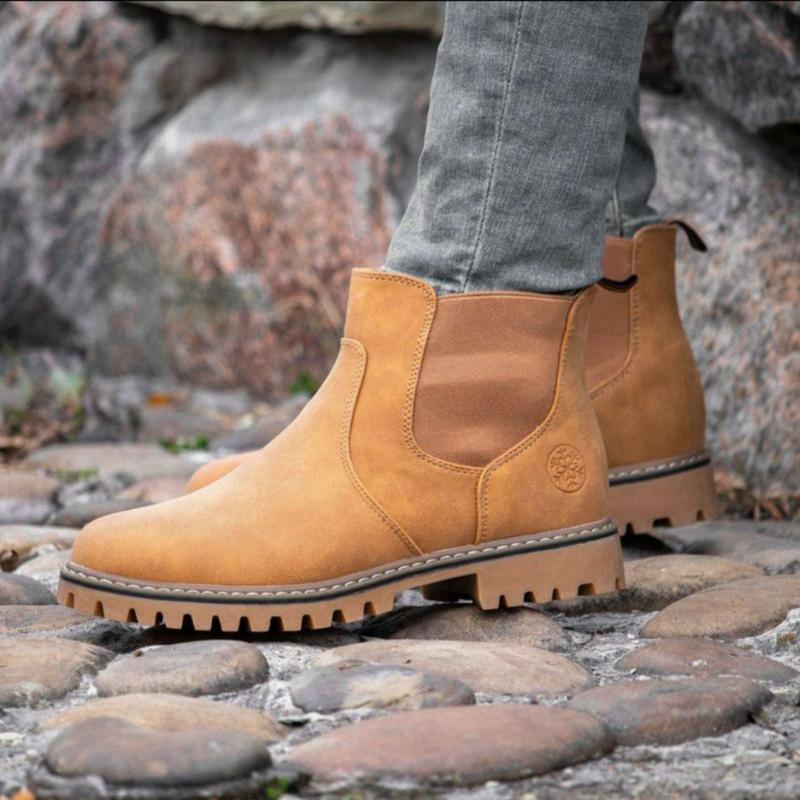 Мужские стильные рыжие ботинки челси зимние на меху