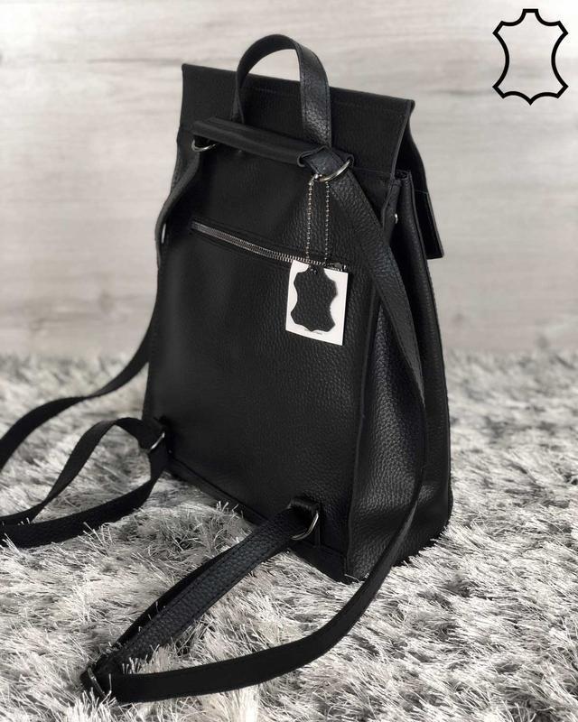 Кожаная сумка рюкзак молодежный черного цвета - Фото 2