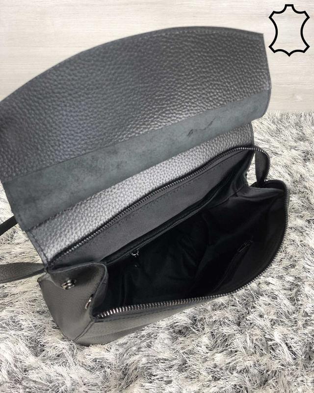 Кожаная сумка рюкзак молодежный черного цвета - Фото 4
