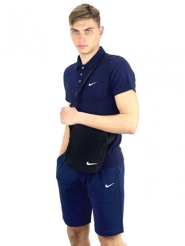 Костюм мужской nike шорты темно-синие, футболка темно-синяя + ...