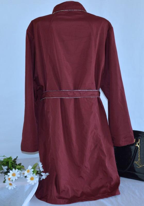 Брендовый бордовый плащ тренч с поясом и карманами nana большо... - Фото 3