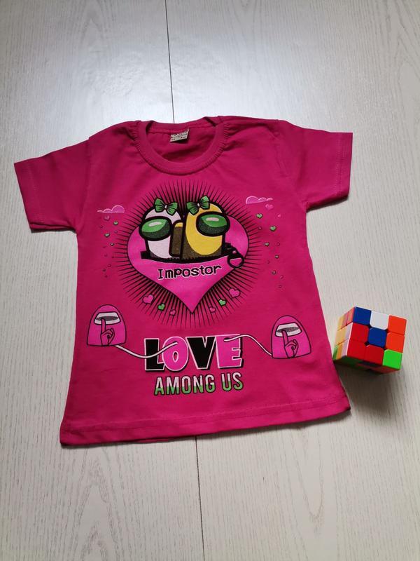 Детская футболка на девочку among us розовая, от 4 до 8 лет