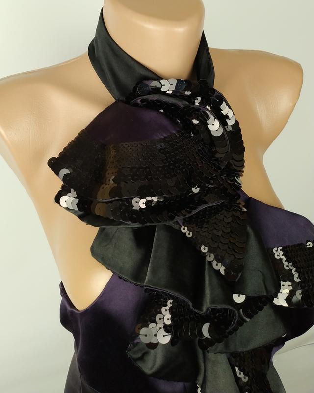 Блуза шелковая шикарная с паетками оригинал karen millen uk 8/... - Фото 2