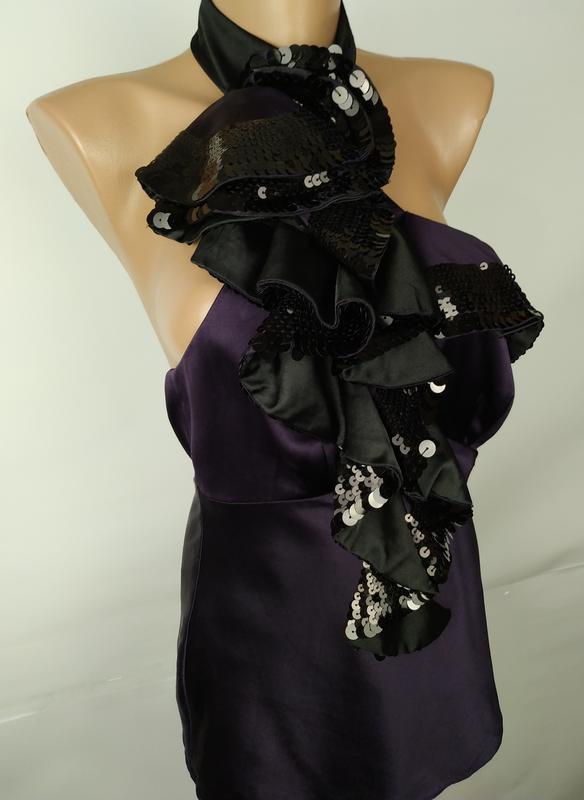 Блуза шелковая шикарная с паетками оригинал karen millen uk 8/... - Фото 3