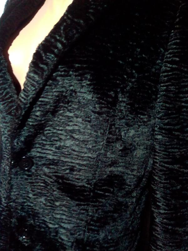 Черная шуба пальто из искусственного меха. - Фото 3