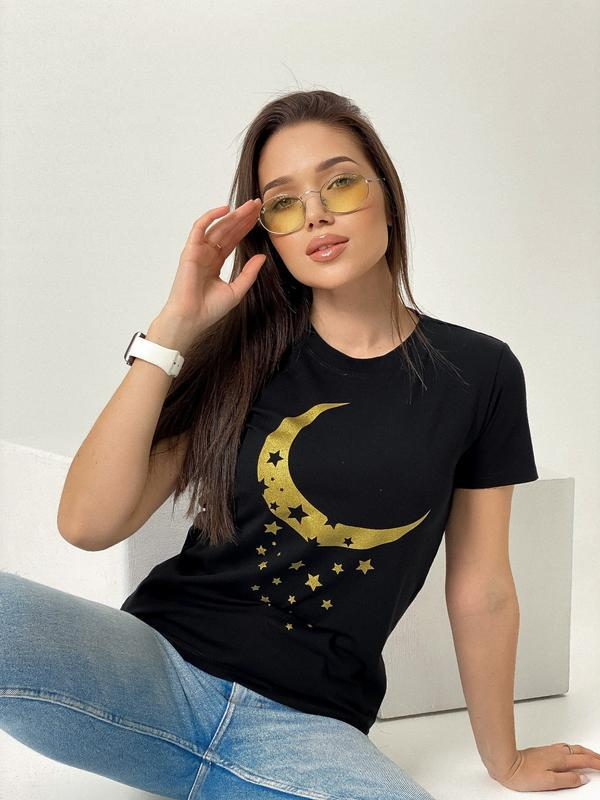 Женская футболка с принтом, луна
