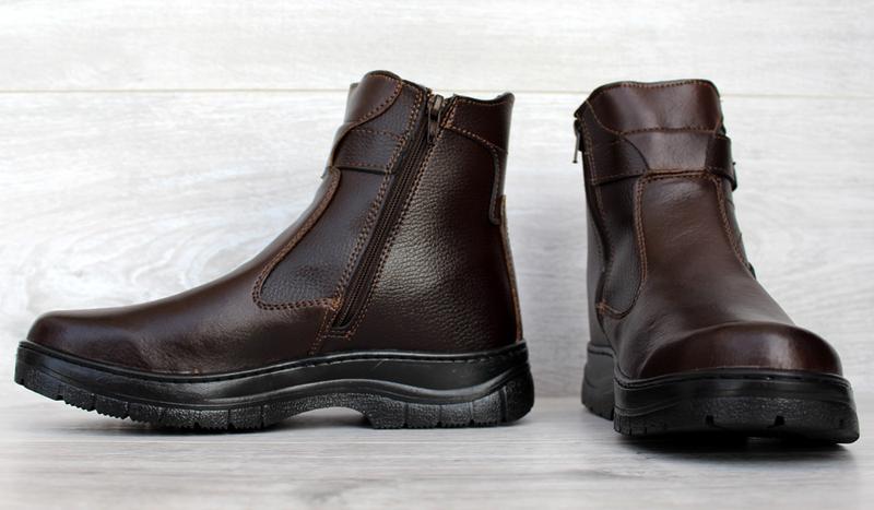 Мужские зимние классические высокие ботинки на молнии - Фото 5