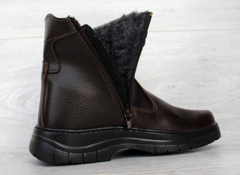Мужские зимние классические высокие ботинки на молнии - Фото 6