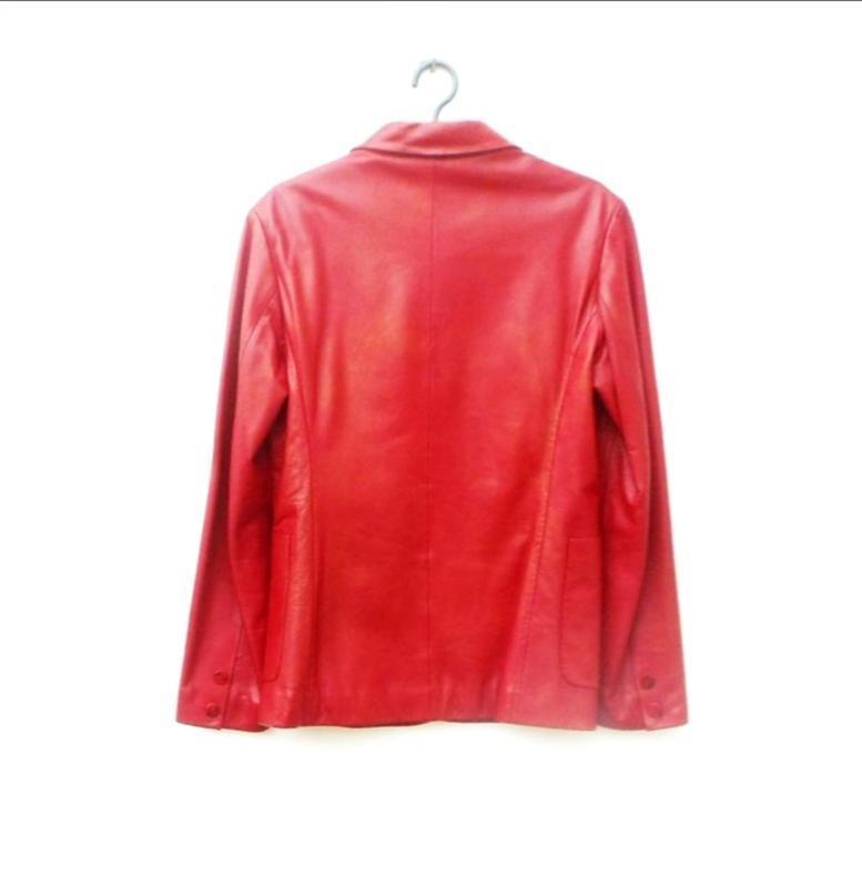Красная классическая натуральная кожаная демисезонная весенняя... - Фото 2