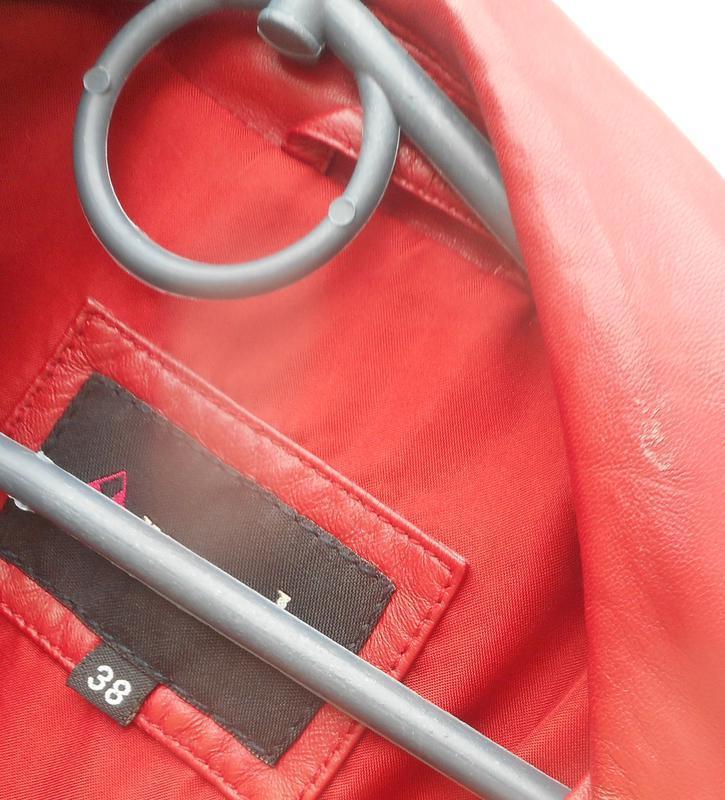 Красная классическая натуральная кожаная демисезонная весенняя... - Фото 4