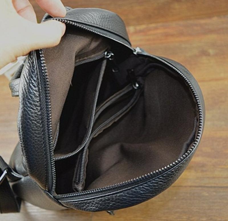 Кожаный рюкзак черный небольшого размера - Фото 2