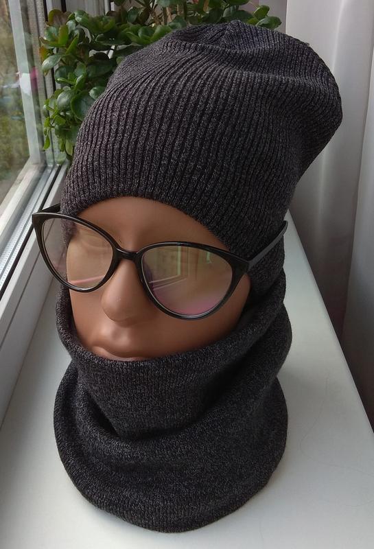 Новый набор: шапка (на хлопковой подкладке) и снуд (на флисово...