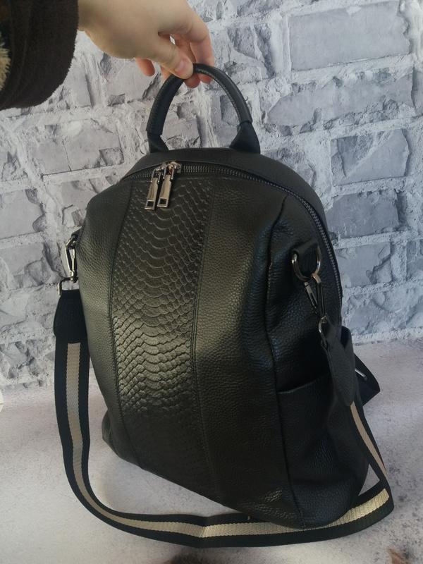 Женский кожаный рюкзак жіночий шкіряний портфель сумка кожаная - Фото 2