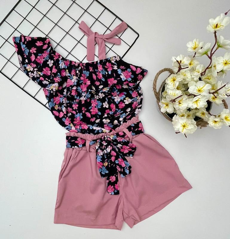 Летний легкий костюм, шорты, блуза