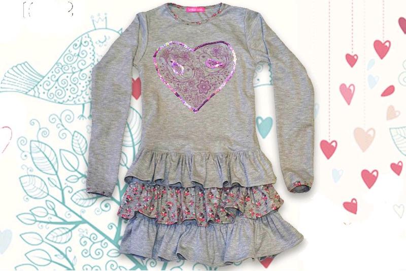 Меланжевое трикотажное детское платье с оборками цветочный принт