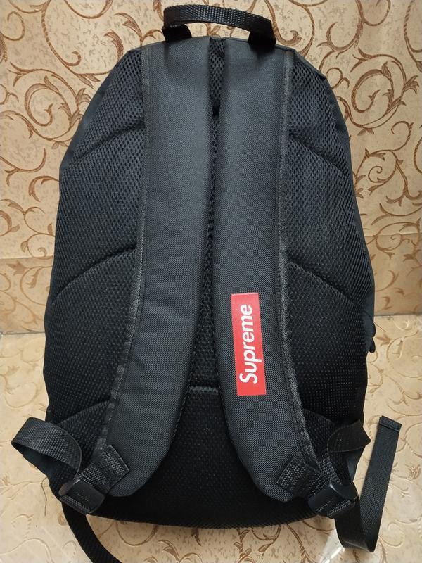 Черный молодежный, поседневний,  городской рюкзак supreme - Фото 2