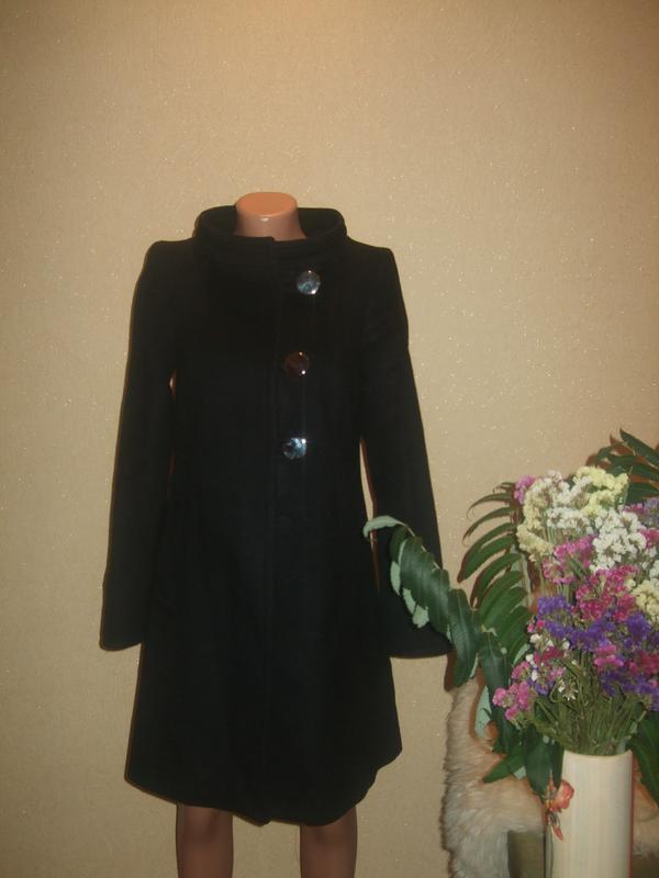 Стильное теплое шерстяное пальто zara