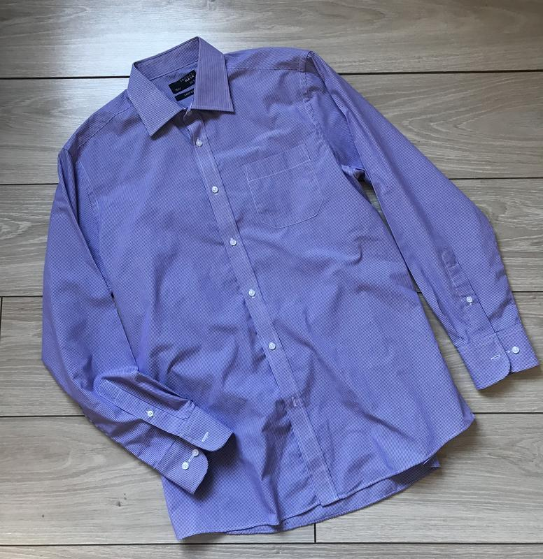 Рубашка мужская с длинным рукавом сиреневая в полоску