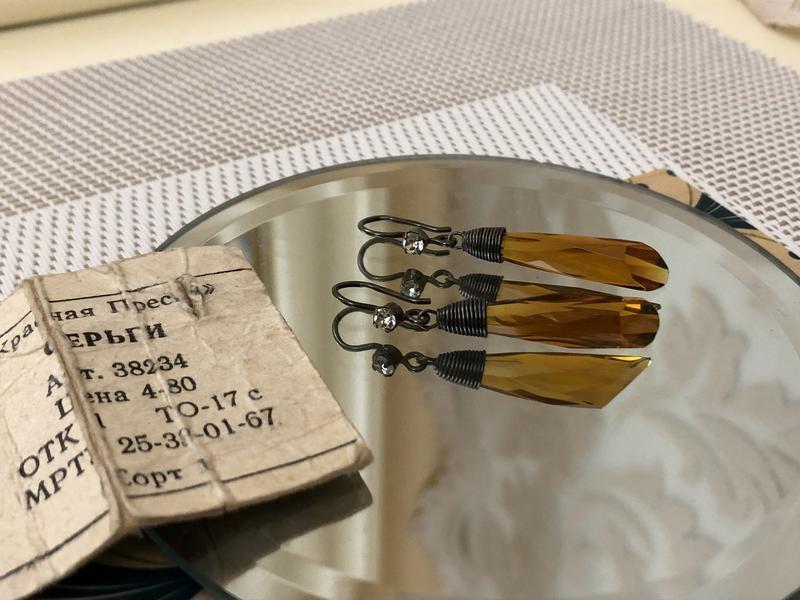 Серьги винтажные ссср золото осени, серебро 875 проба,красная ... - Фото 2