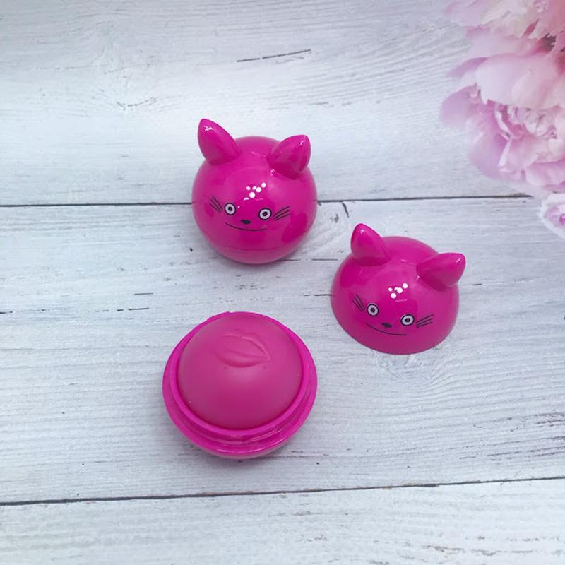 Веселенький бальзам-шарик для губ, розовый к.4016