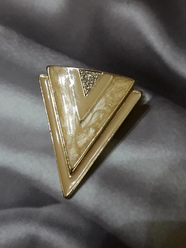 Винтажная брошь, 70-80-е, эмаль, стиль ар деко, маркирована