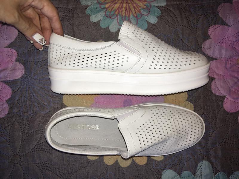 Мокасины, слипоны, туфли, белые, натуральная кожа, базовые