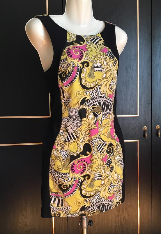 Платье женское, приталенное, чёрное, вставки, турция, короткое...