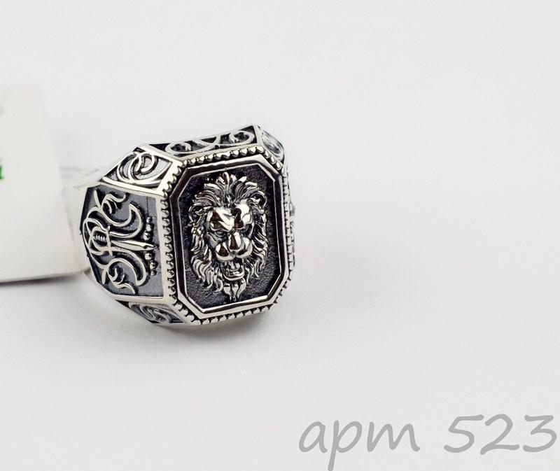 Кольцо, перстень, печатка, серебро, 925, лев, на подарок, сере...