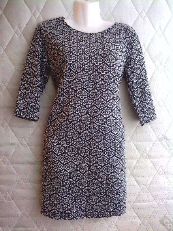 Платье, серый цвет с узором