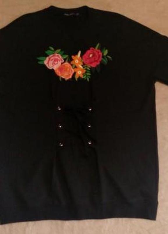 Свитер свитшот оверсайз с вышивкой с завязками размер 8-10 boohoo - Фото 4