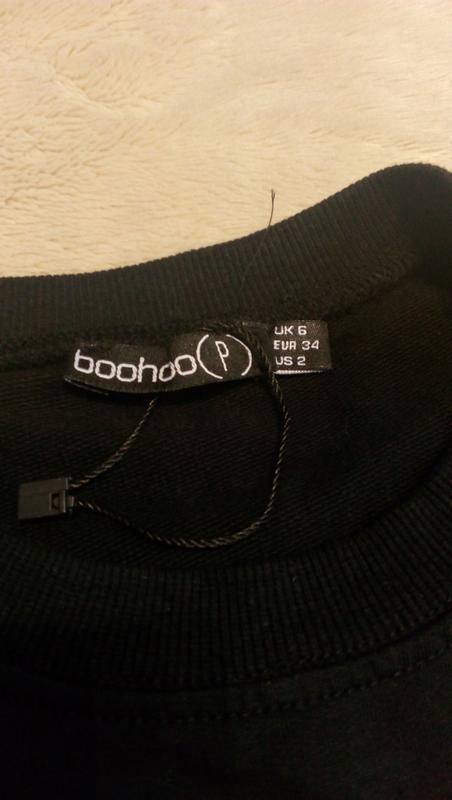 Свитер свитшот оверсайз с вышивкой с завязками размер 8-10 boohoo - Фото 5